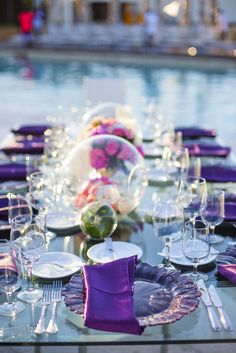 A pop of purple will stylize your table setting! #BreathlessCaboSanLucas