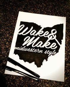 Wake & Make by Keith Tatum Out Of My Mind, Typography, Lettering, Love Design, Type, How To Make, Create, Letterpress, Letterpress Printing