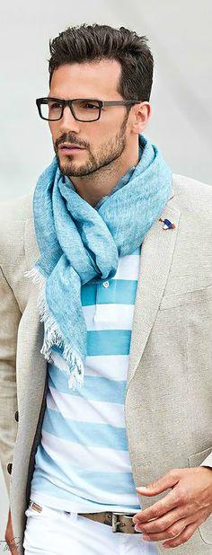 Polo with blazer and scarf // Adam Cowie