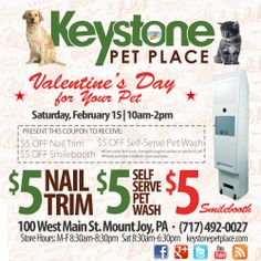Valentine's Day for Your Pet!  Come share the love on Saturday, Feb. 15th at the store between 10am and 2pm by treating your pet to a nail trim, pet wash, and a photo shoot!  $30 value for only $15.