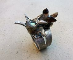Dance of the Tree Fairies Ring with Turquoise and Smoky Quartz by SilviasCreations, $189.00