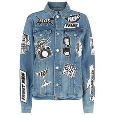 Frame Le Original Tour Patch Denim Jacket ($840) ❤ liked on Polyvore featuring outerwear, jackets, tops, coats, coats & jackets, patched denim jacket, polka dot denim jacket, blue denim jacket, jean jacket and patch jacket