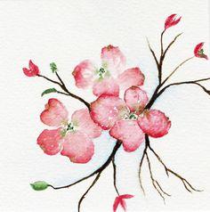 painting watercolor original pink dogwood tree by SheShell on Etsy, Pink Dogwood, Dogwood Trees, Dogwood Flowers, Watercolor Cards, Watercolor Flowers, Watercolor Paintings, Watercolors, Watercolor Tattoos, Tree Illustration