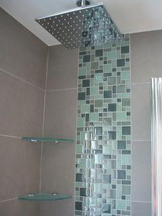 glass tile and grey mosaic design classy - Bathroom Mosaic Designs