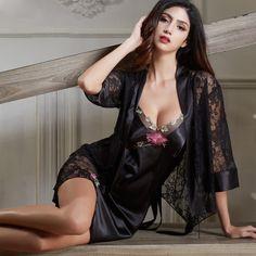 f69cceaa3 Robes e camisolas · XIFENNI Roupões De Seda Feminino Two-Piece Bordado  Sleepwear Sexy Black Lace Nightgowns Mulheres Imitação