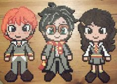 Hama/perler beads- Ron, Harry and Hermione