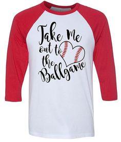 Take Me Out To The Ballgame - Baseball Mom - Baseball Girlfriend - Glitter Red Stitches - 3/4  Baseball Tees