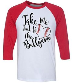 Take Me Out To The Ballgame - Baseball Mom - Baseball Girlfriend - Glitter Red Stitches - 3/4  Baseball Tees