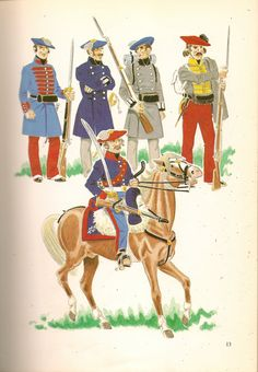 Carlists Halbadier of King's Guard, Officer & Private Guard of Honour, Guide of navarre & Trooper Horse Honour Guard Army History, Honor Guard, Victorian Era, Warfare, 19th Century, Illustration, Spanish, Empire, Military