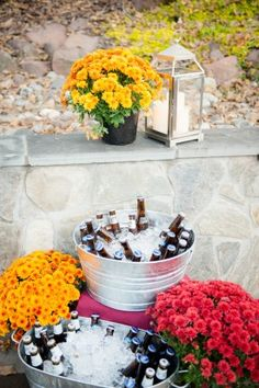 wedding-beer-bar-Tracey-David-Riverside-on-the-Potomac-Wedding-Leesburg-Virginia-Kelly-Ewell-Photography beer garden, cocktail hour, beer cocktail, beer tubs, wedding beer, galvanized tubs wedding, mum wedding, rustic wedding, barn wedding, fall wedding inspiration