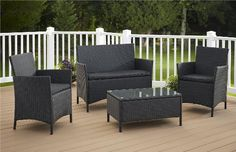 Jamaica Resin Wicker Convo 4 Piece Deep Seating Group with Cushion Resin Wicker Patio Furniture, Patio Furniture Covers, Best Outdoor Furniture, Kids Furniture, Furniture Layout, Garden Furniture, Street Furniture, Pallet Furniture, Balcony Furniture