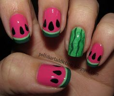 Watermelons: China Glaze - Laced Up, OPI - Jade Is the New Black, My personal light green franken & Pure Ice - Free Spirit | Polish Art Addiction