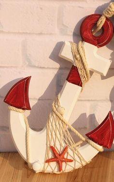 Farm to Coast Decor Seashell Art, Seashell Crafts, Beach Crafts, Summer Crafts, Coastal Wall Decor, Beach House Decor, Wood Anchor, Nautical Anchor, Creative Lamps