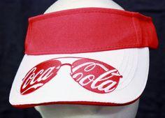 Cocacola Coke Sun Visor Hat Cap Red White Sun Glasses Embroidered Recycled Green #BottleCaps #Visor