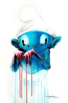 Guilty Smurf by Alex Pardee Alex Pardee, Street Art, Diamond Art, Illustrations, Cute Illustration, Magazine Design, Cool Artwork, Art Boards, Smurfs