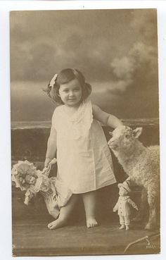 Young Child Girl with Dolls and Sheep original old 1910s photo postcard