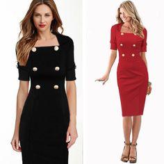 2015 donne elegante affari abiti tuniche ufficio formale indossare al lavoro disegni uniformi stile di lunghezza del ginocchio vestito aderente per le donne(China (Mainland))