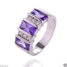 Womens purple cubic zirconia w/accents band ring size 7 925 sterling silver #Unbranded #Band