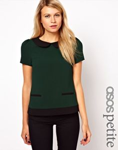 Enlarge ASOS PETITE Exclusive Top With Contrast Collar and Hem