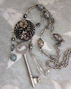 Vintage Repurposed Industrial Chic NECKLACE with Key and Crystal - One of a Kind by jryendesigns.etsy.com