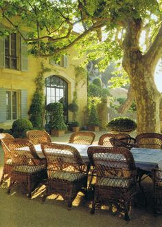 Provence village with its central square. From a Provence vacation. Outdoor Rooms, Outdoor Dining, Outdoor Gardens, Dining Table, Patio Dining, Outdoor Seating, Dining Sets, Patio Table, Backyard Seating