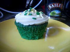 Green Velvet Cupcakes with Baileys Buttercream Frosting