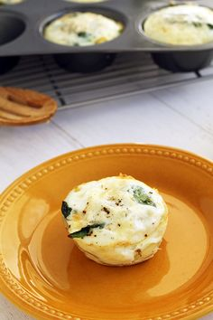 Fontina, Spinach and Potato Noodle Egg White Frittata Muffins