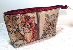 Cat pencil case. Kitty bag. Tapestry Kitty Bag. Cat bag.  Cat lover gift. Bag for all occasions.