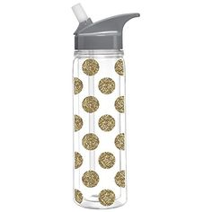 Slant Double Wall Loop Water Bottle Gold Glitter Dots 18 OZ ** Find out @ https://www.amazon.com/gp/product/B0172DDM8E/?tag=homeimprtip08-20&pbc=300716025609