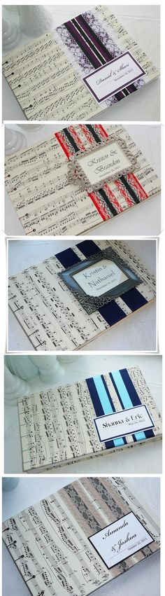 Sheet Music Wedding Guest Books. I'm thinking this is a good idea for cards.