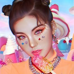 """""""Keep your chin up, we got your back, hey Keep your head up, just keep on dreamin"""" DALLA DALLA . Keep Your Chin Up, Wattpad, You Got This, Fan Art, Candy, Kpop, Icecream, Pink Blue, Artist"""