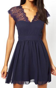 Navy shoulder lace dress