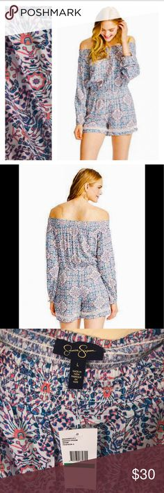 Jessica Simpson romper, size L Boho romper by Jessica Simpson. Super cute print with blue and pink tones. Lace accents. Off the shoulders Jessica Simpson Dresses Long Sleeve