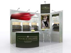 An elegant stand design with bright graphics and integrated showcases ideal for displaying products stylishly and professionally.  For More information, please visit www.prestige-system.com