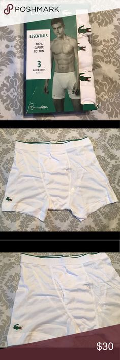 Lacoste 3 men's essential boxer briefs. Brand new Lacoste 3 men's essential 100% Supima Cotton Boxer Briefs. Size M ( 32-34 waist size). Brand New. 3 White Boxer Briefs in this box. Made in India. MSRP at $39.50. Classic fit. Soft seamless waistband. Price is FIRM at $30! Lacoste Underwear & Socks Boxer Briefs