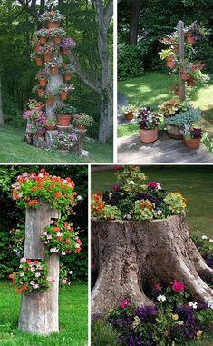Tree stump ideas - Decoration Fireplace Garden art ideas Home accessories Garden Yard Ideas, Diy Garden Projects, Garden Crafts, Lawn And Garden, Garden Pots, Planter Garden, Patio Ideas, Tree Stump Planter, Log Planter