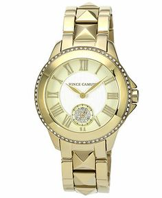 Vince Camuto Watch, Women's Gold-Tone Pyramid Stud Stainless Steel Bracelet 38mm