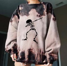 Retro Skull Printed Tie-dye Sweatshirts – aromiya
