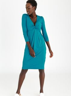 c7019b5534598e Edit Knot Front Drape Dress with 3/4 Sleeves Turquoise Draped Dress, Cold  Shoulder