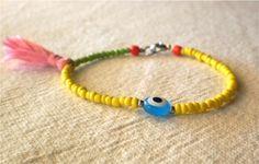 #tribal #bead #friendship #tassel #bracelet #summer #color #yellow
