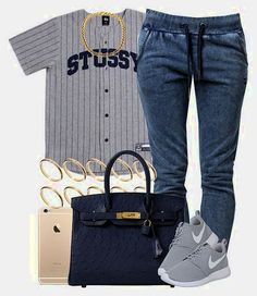 A fashion look from August 2015 by livelifefreelyy featuring Stussy, OnePiece, NIKE, Hermès and ASOS Nike Shoes Cheap, Nike Free Shoes, Nike Shoes Outlet, Running Shoes Nike, Cheap Nike, Buy Cheap, Dope Outfits, Swag Outfits, Casual Outfits