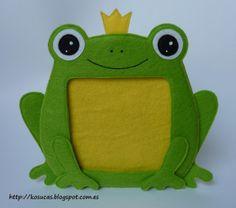 Marco de fotos de rana de fieltro. Frog frame felt.