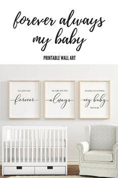 I'll Love You Forever printable, Digital Download, Nursery Wall Art, Nursery Decor, Baby Shower Gift, Baby Girl Nursery, Baby Boy Nursery, Kids Room, Home Decor #ad