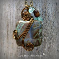 Snake Skin Jasper Wire Wrapped Pendant Necklace in Antique Bronze by CareMoreCreations.com, $29.00