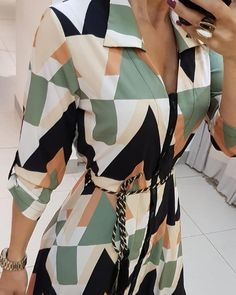 Women Elegant Turn-Down Collar Asymmetric Dress Autumn Long Sleeve Geometric Print Midi Shirt Dress Casual Party Dresses Dress Shirts For Women, Clothes For Women, Mode Statements, Midi Dress Plus Size, Casual Party Dresses, Dress Casual, Trend Fashion, Midi Shirt Dress, Prom Dress