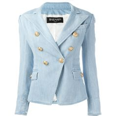 Balmain Denim Double-Breasted Jacket ($1,190) ❤ liked on Polyvore featuring outerwear, jackets, denim blue, blazer jacket, double breasted jacket, balmain, balmain jacket and blue denim blazer