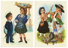 Eugénio Silva, ed. Folk Costume, Costumes, Robert Henri, Creative Activities, Old Postcards, Traditional Outfits, Vintage Posters, Illustrations Posters, Culture