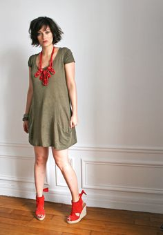khaki + red (and Lanvin x H necklace)