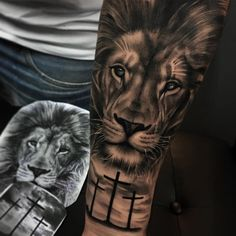 Lion tattoos hold different meanings. - Lion tattoos hold different meanings. Lions are known to be proud and courageous creatures. Lion Forearm Tattoos, Lion Head Tattoos, Mens Lion Tattoo, Leg Tattoos, Sleeve Tattoos, Lion Tattoos For Men, Cross Tattoos, Tattos, Lion Arm Tattoo