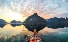 Norway, river, kayak, Europe, extreme, sunset